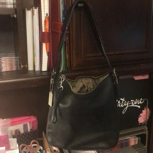 Coach black small purse with hobo style strap